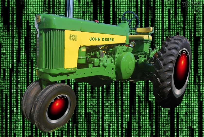 A vintage John Deere tractor whose wheel hubs have been replaced with HAL 9000 eyes, matted over a background of the cyber-waterfall image from The Matrix.