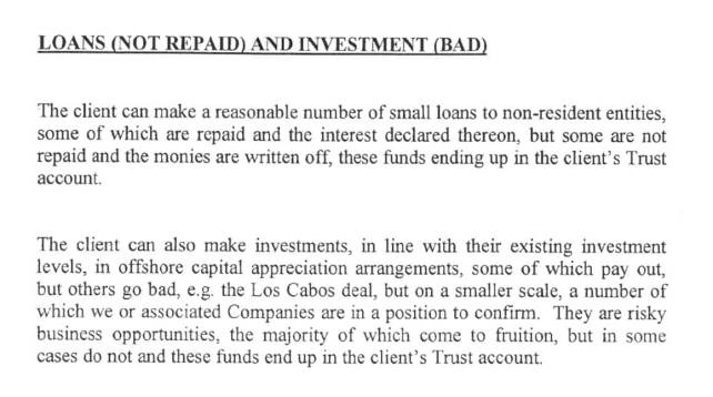 Details of the 'bad loans' scam.