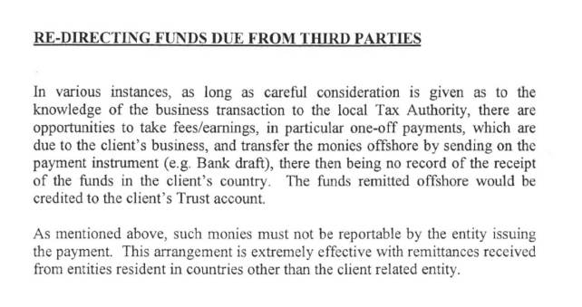 Details of the 'redirecting funds' scam.