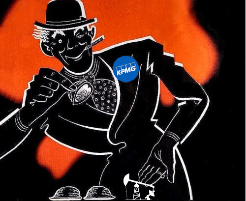A shell-game con artist wearing a KPMG badge on his lapel, lifting a shell to reveal a pumpjack.