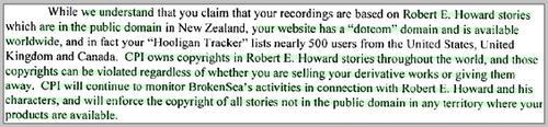 Conan copyright trolls censor fan-readings of public domain