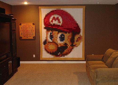 Giant Mario quilt -- a honey of a gamer crafter project / Boing Boing : mario quilt - Adamdwight.com