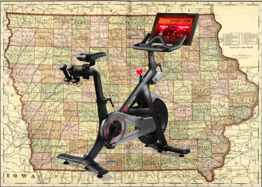An early 20th Century map of Iowa with a Peloton bike superimposed on it; the Peloton's screen displays the garish neon sign of a storefront payday lender.