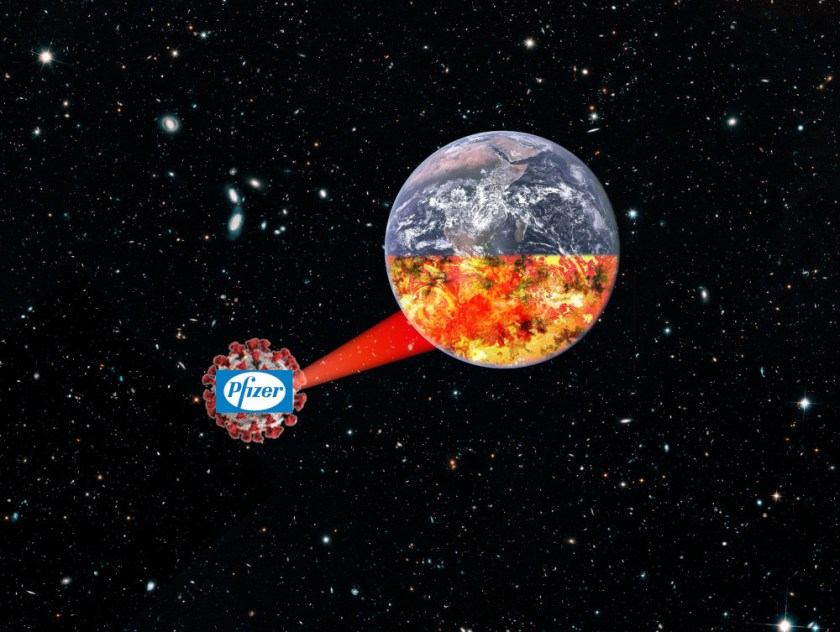The Earth, floating in space, with its southern hemisphere in flames; it is being irradiated by a beam-weapon fired by a Death Star-style coronavirus molecule, bearing the Pfizer logo.