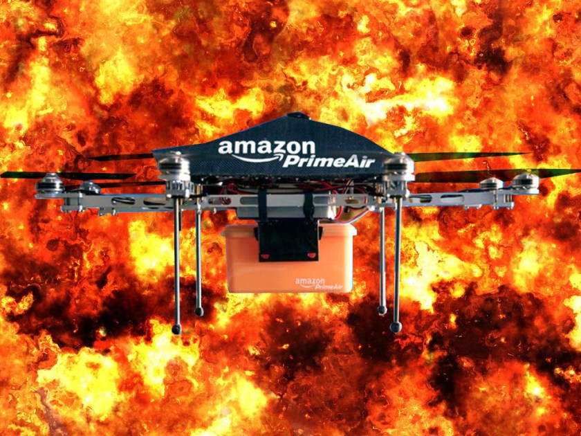 An Amazon Prime Air drone superimposed over a raging fireball.