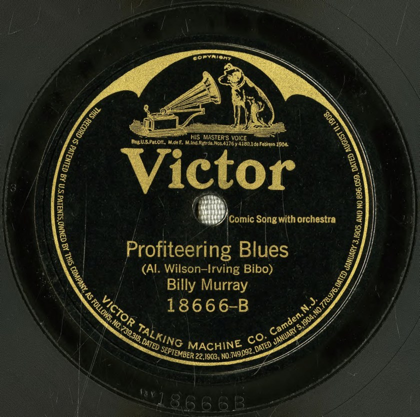 The label for Billy Murray's single 'Profiteering Blues.'