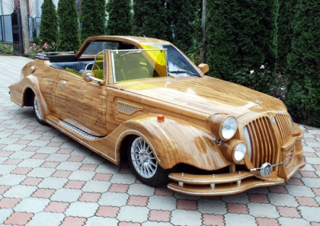 Wooden Car With Split Modern Vintage Personality Boing Boing