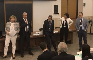 I relatori durante la Tavola Rotonda: da sinistra, Marie-Georges Besse, Giuseppe Assogna, Francesco Luchi, Elisa Napolitano e Massimo Indebrando.
