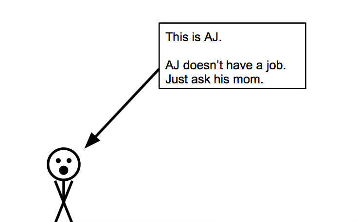 Drawing of AJ. He lacks experience. He doesn't have a job. Just ask his mom.