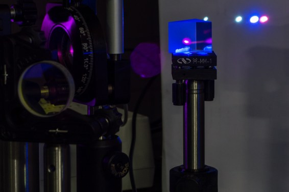 From left to right, fluorescence generated by 200nm light, fluorescence generated by 266nm light and the 400nm (2nd Harmonic) of the fundamental (800nm)
