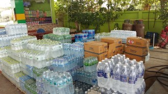 It is 47° allready and temperatures are rising Every available space is filled with bottled water.
