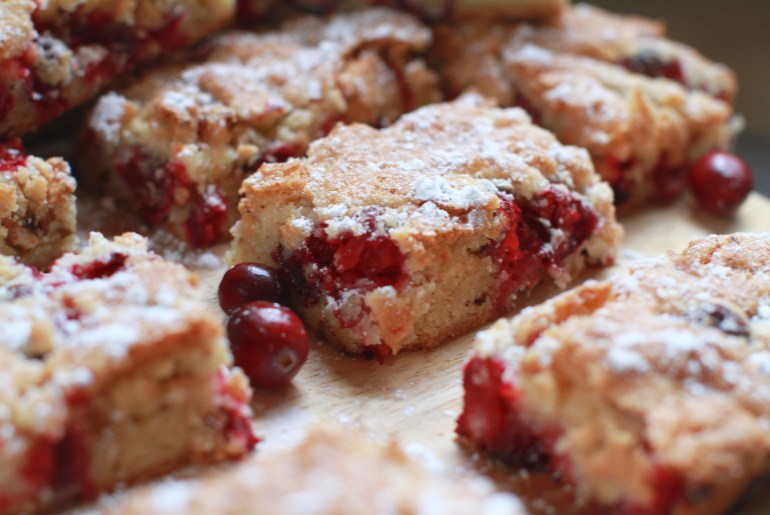 Blissful Cranberry bars are a festive, tart treat