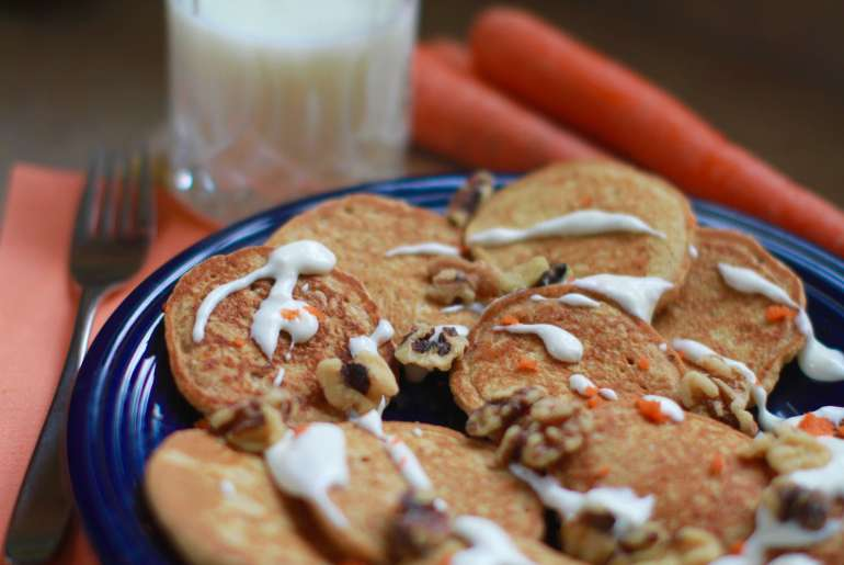 Carrot cake pancakes are perfect for spring brunch