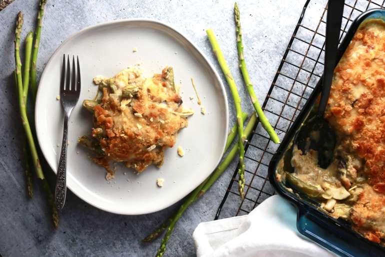 Creamy asparagus, mushroom casserole