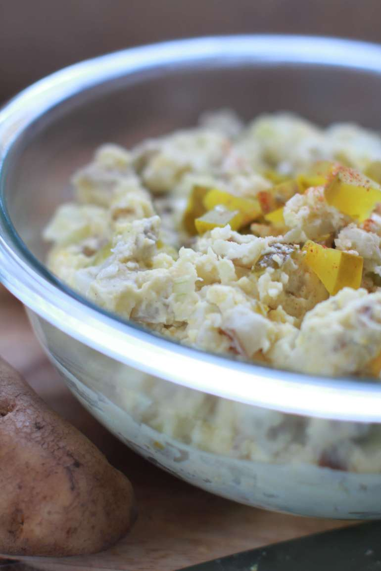 Dill pickle potato salad is a new take on a picnic time classic