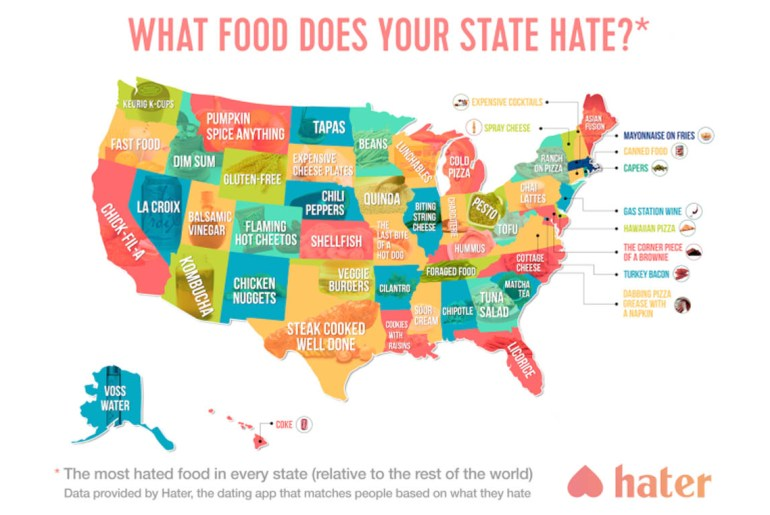 Here's the most hated food state-by-state, according to dating app, Hater.