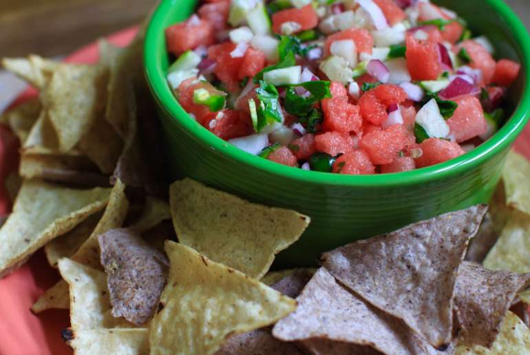 Simple watermelon salsa is sweet, mildly spicy by Everybody Craves.