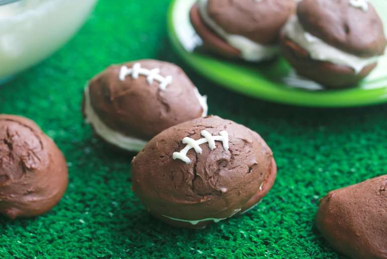 Football whoopie pies are a total touchdown for game day desserts