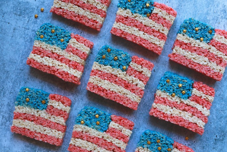 Patriotic Rice Krispie Treats Flags are perfect for summer holidays