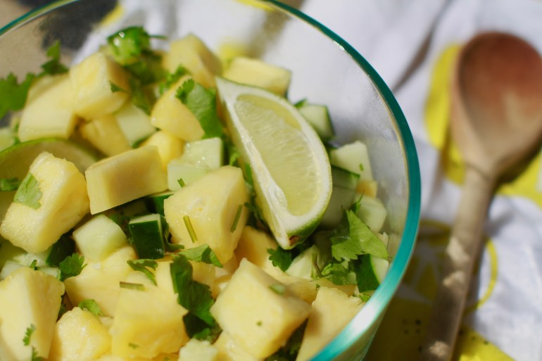 Refreshing pineapple, cucumber salad