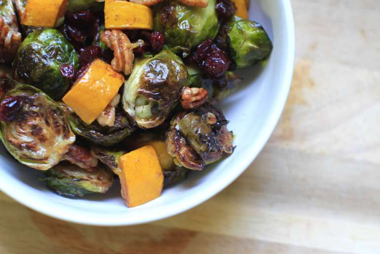 Roasted Brussels sprouts with pecans and cranberries