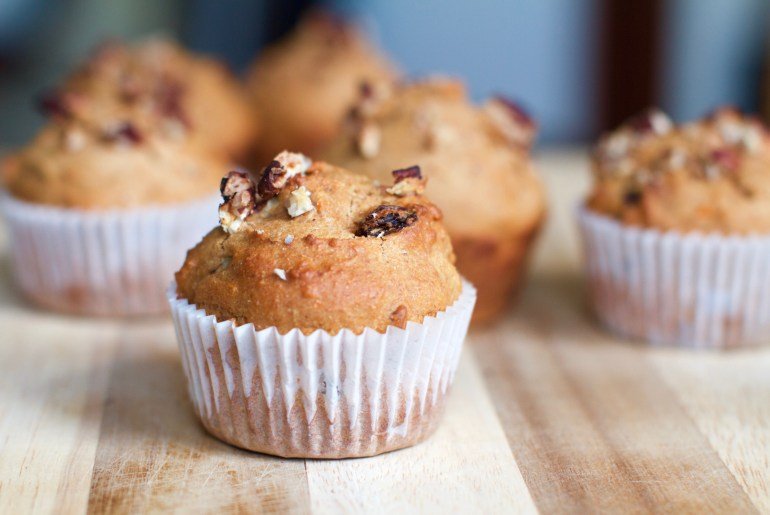 Sweet potato muffins with pecans and raisins are perfect way to use up leftovers