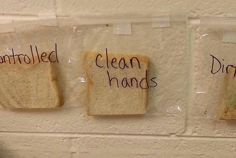 A teacher successfully shows why hand washing is so important.