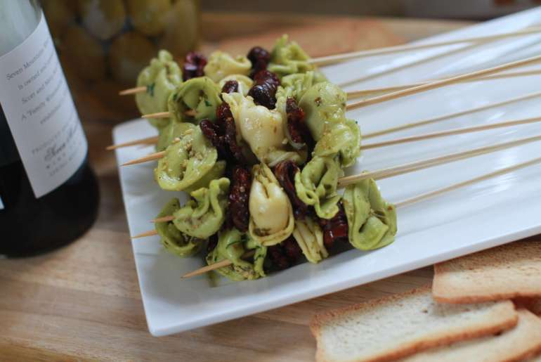 Tortellini skewers are an easy holiday appetizer