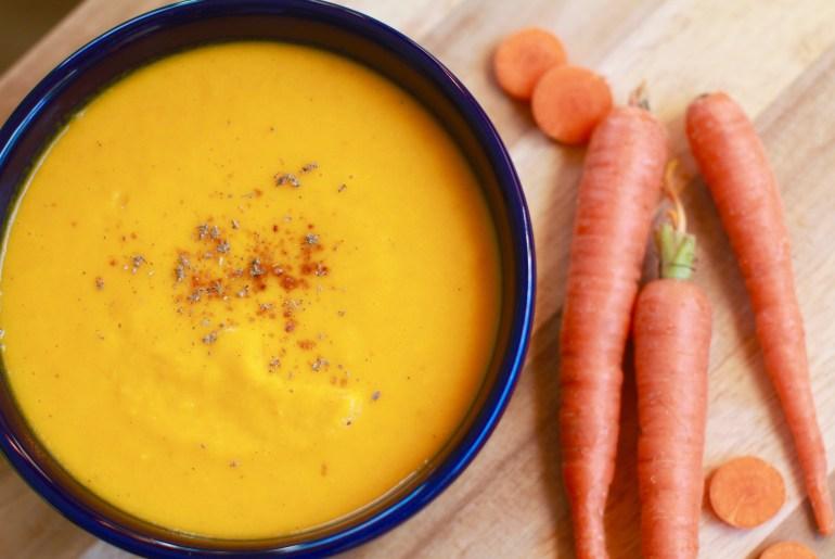Vegetarian carrot, ginger soup with lemon