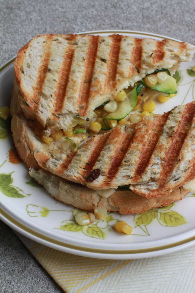 Zucchini Panini with corn and goat cheese3