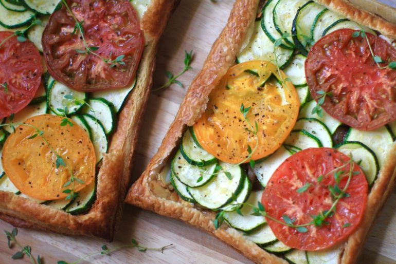 heirloom tomato, zucchini, onion, goat cheese, thyme tart recipe