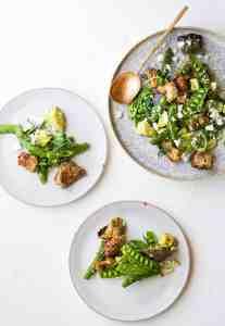 GREEN PANZANELLA WITH SNAP PEAS + AVOCADO