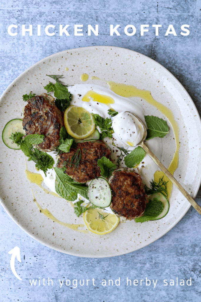Chicken Koftas with Yogurt and Herb Salad