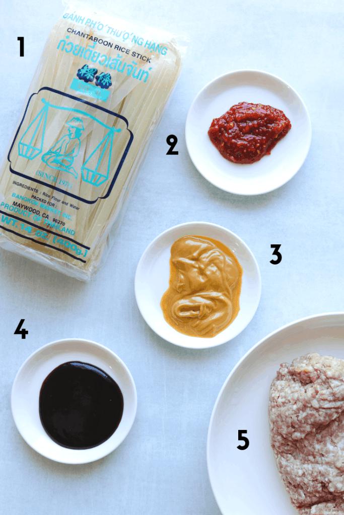 5-Ingredient Spicy Pork and Peanut Noodles Ingredients