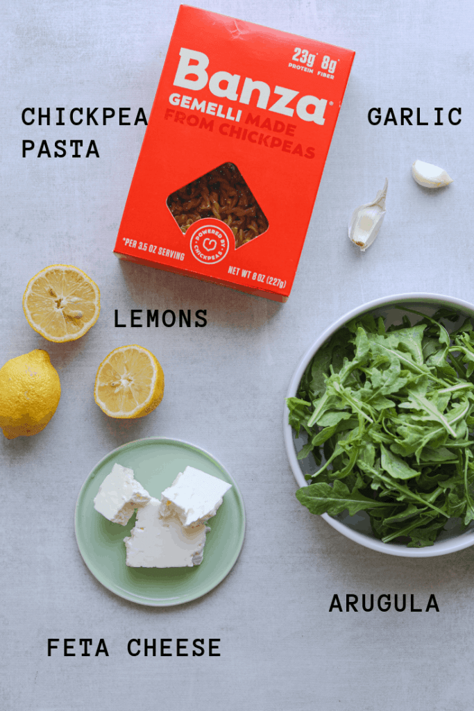 recipe ingredients: chickepea pasta, lemons, arugula, feta cheese, garlic