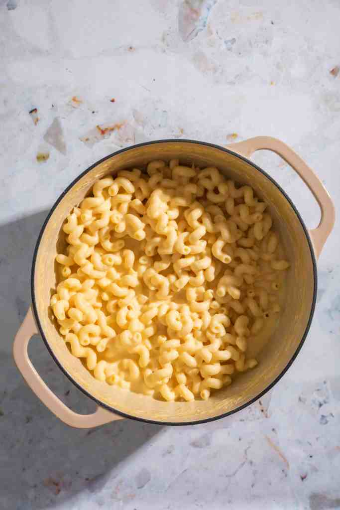 butternut squash mac and cheese in a pot