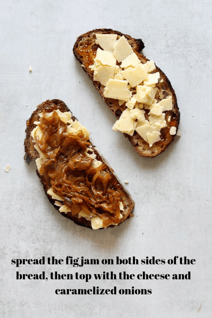 how to assemble a White Cheddar + Fig Grilled Cheese