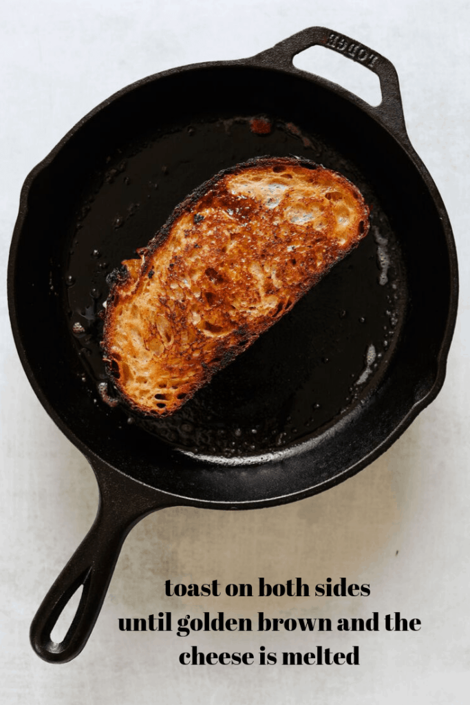 White Cheddar + Fig Grilled Cheese Grilling in a Pan