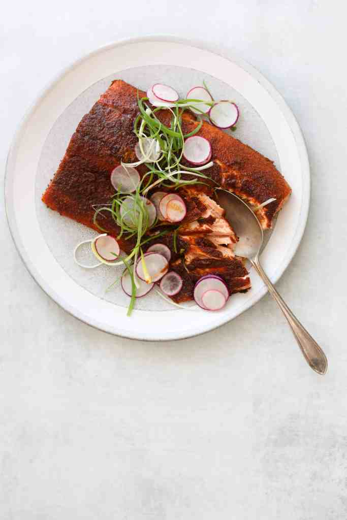 oven-roasted bbq salmon on a platter