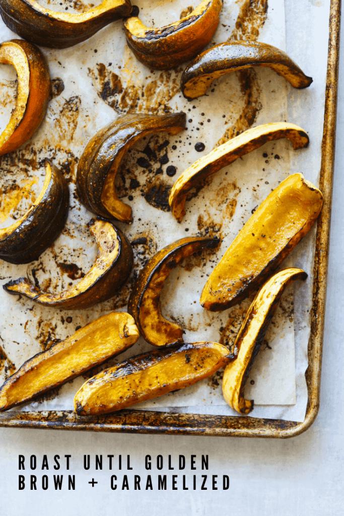 honey roasted squash on a baking tray