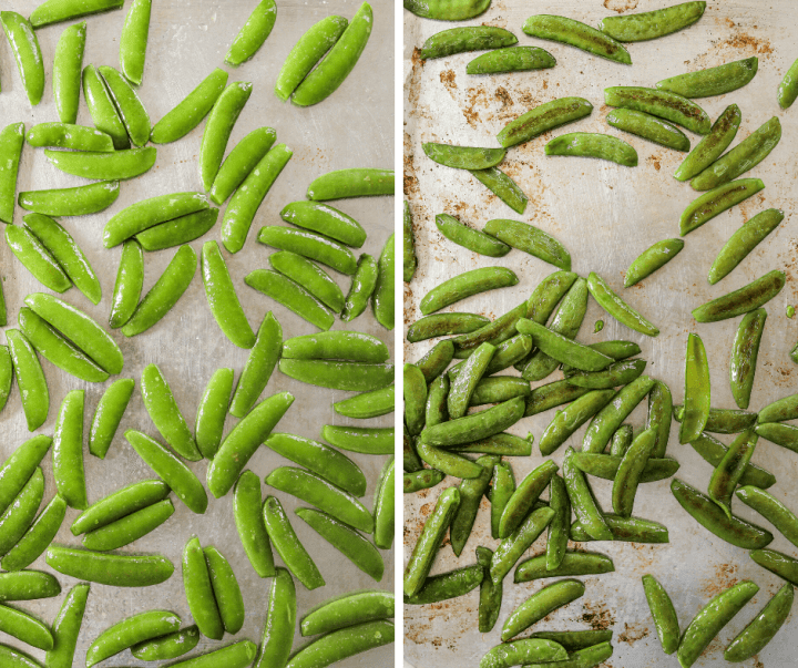 side by side trays of roasted snap peas and raw snap peas