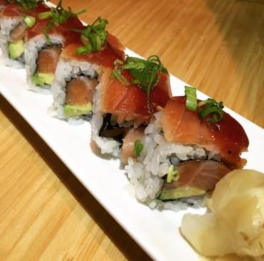 HAMACHI SAKE ZUKE MAGURO | yellowtail, salmon, soy marinated tuna, avocado, yakiniku, scallion