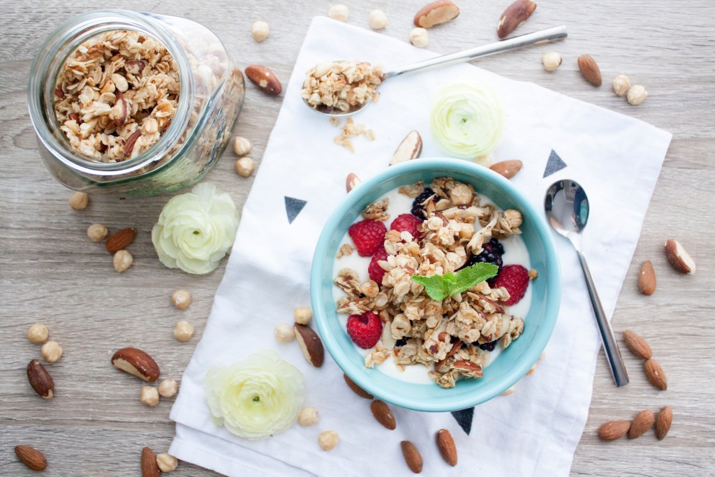 Granola with nuts and honey bunches