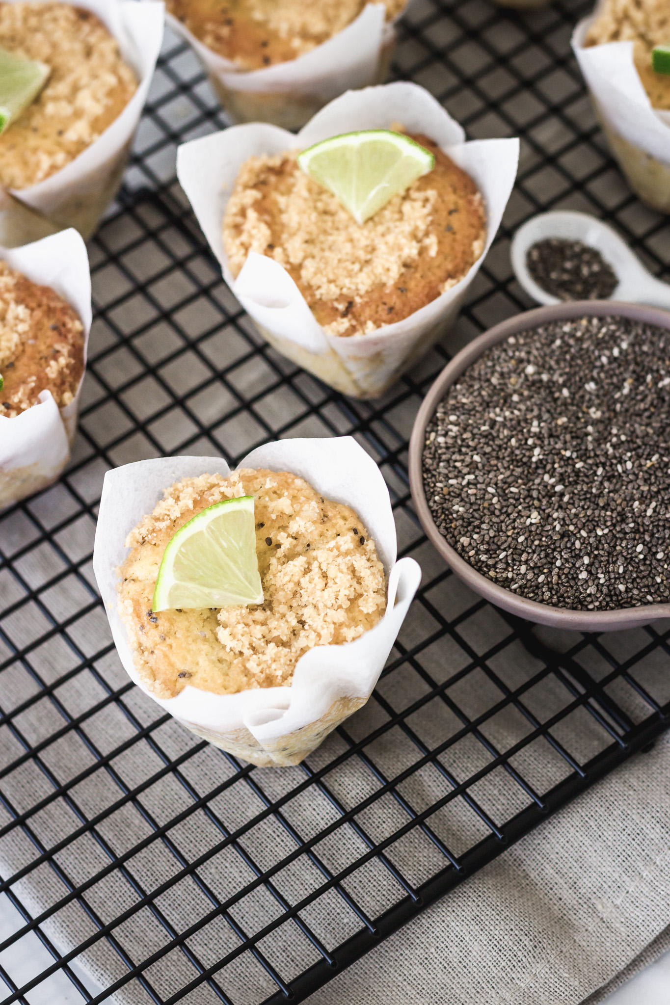 Lime and chia muffins