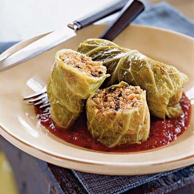 Whole Grain and Italian Sausage–Stuffed Cabbage|CookingLight