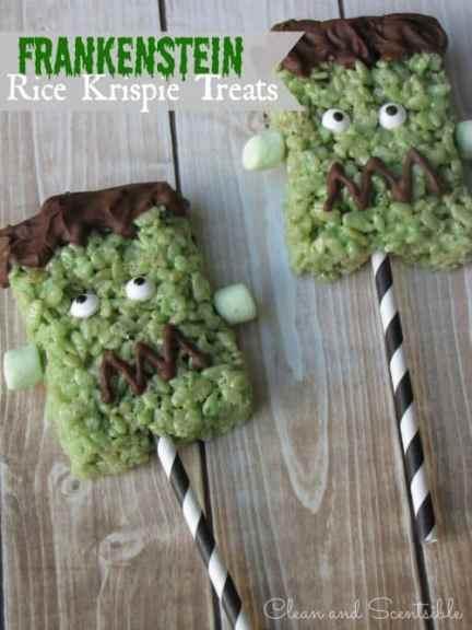 Frankenstein Rice Krispie Treats|Clean and Scentsible