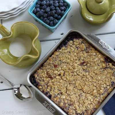 Wild Blueberry Cheesecake Baked Oats