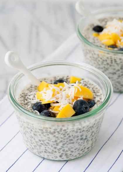 Chia Seed Pudding with Mango and Blueberry|Baked Bree