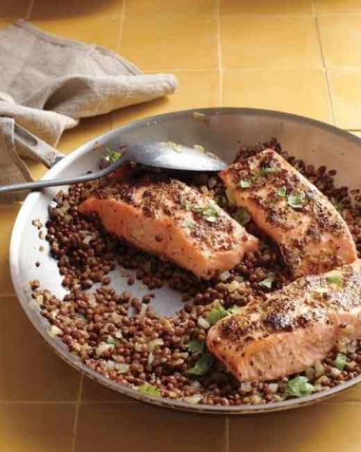 Mustard Glazed Salmon with Lentils|Martha Stewart