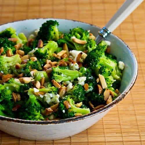 Barely Blanched Broccoli Salad with Feta and Fried Almonds|Kalyn's Kitchen